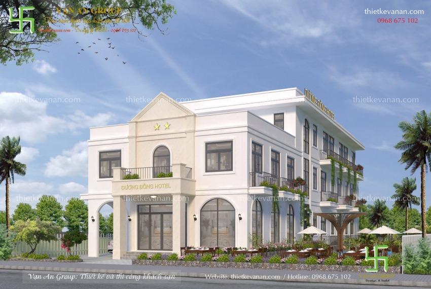 mẫu thiết kế khách sạn 3 tầng đẹp