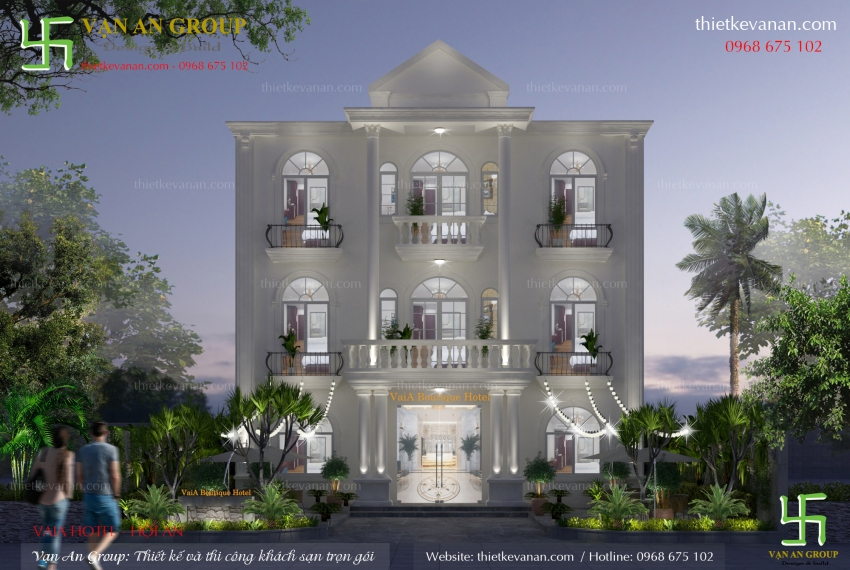 mẫu thiết kế khách sạn 3 tầng