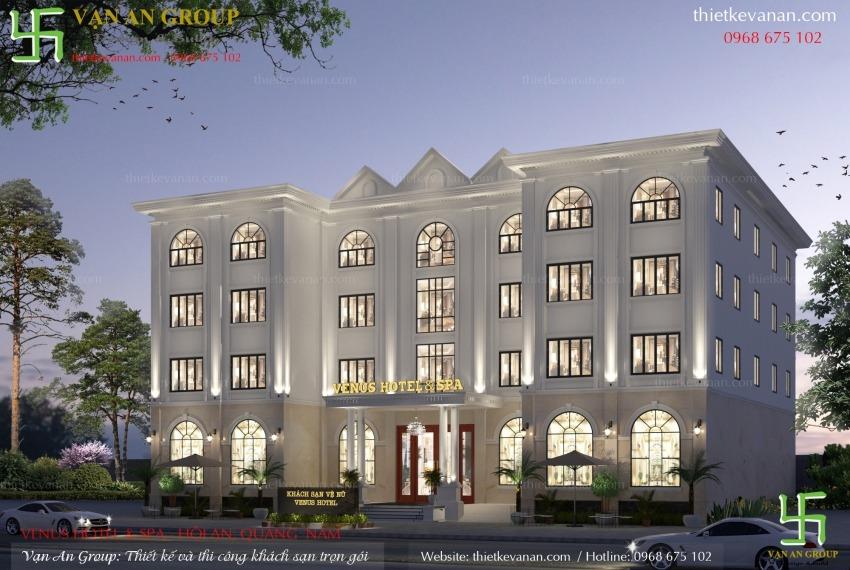 mẫu thiết kế khách sạn 4 tầng đẹp