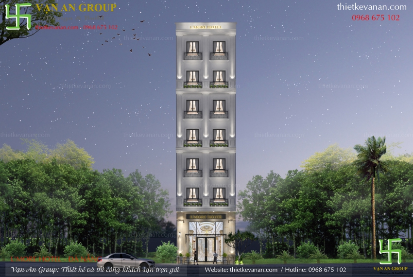 mẫu thiết kế khách sạn 7 tầng đẹp