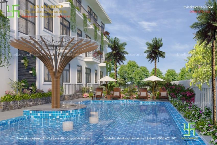 mẫu thiết kế khách sạn có bể bơi đẹp