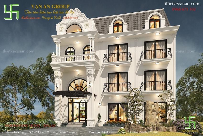 mẫu thiết kế khách sạn mini 3 tầng đẹp