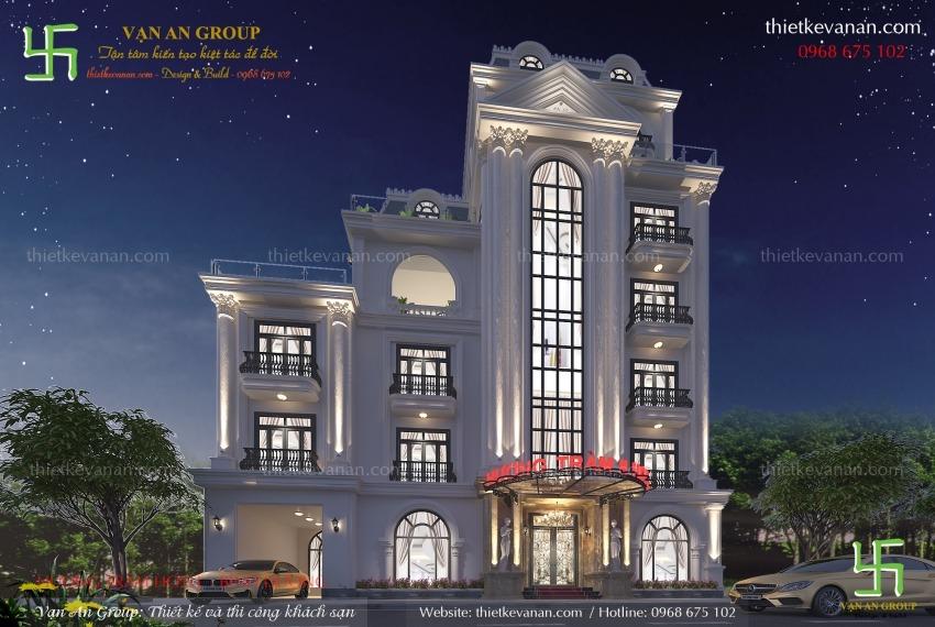 thiết kế khách sạn 6 tầng đẹp