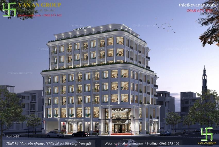thiết kế khách sạn 8 tầng đẹp