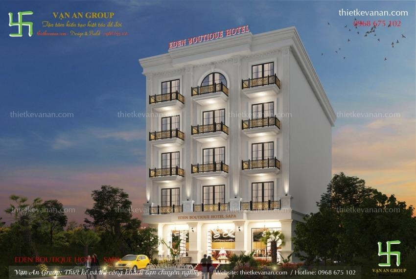 thiết kế khách sạn mặt tiền 10m đẹp