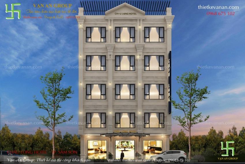 thiết kế khách sạn mini 5 tầng tại sầm sơn