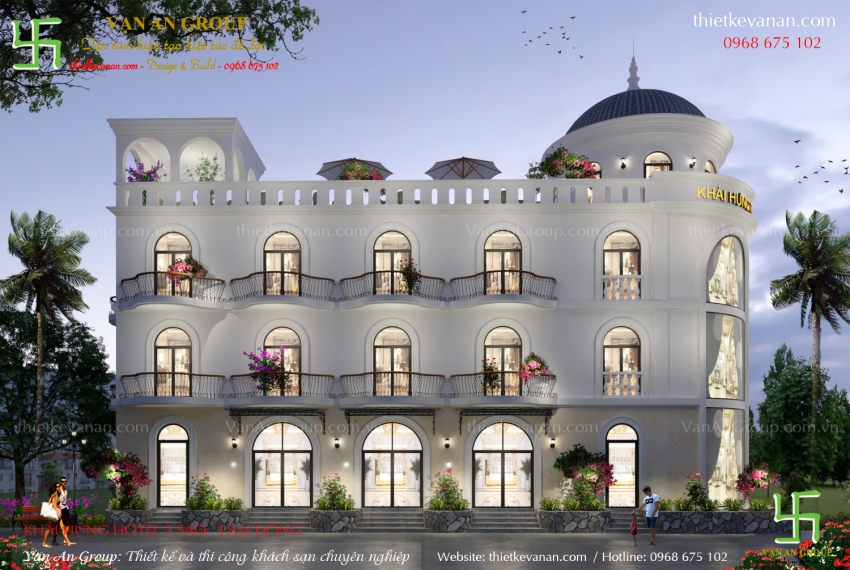 thiết kế thi công khách sạn 3 tầng tại đà lạt